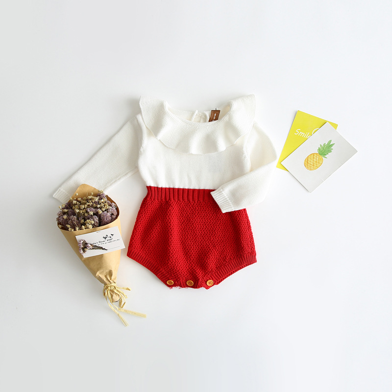 Spring Autumn winter girls baby kids knitted wool conjoined clothes cloak jeans clothing romper jumpsuit sunsuit