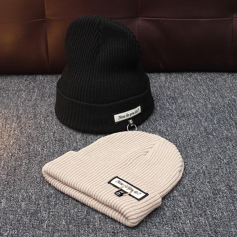 2018 Women's Winter Hats Warm Knitted Braid Hat Iron Hoop Women's Hat Knit Caps Female Beanies Hip-hop Skullies Bonnet Femme