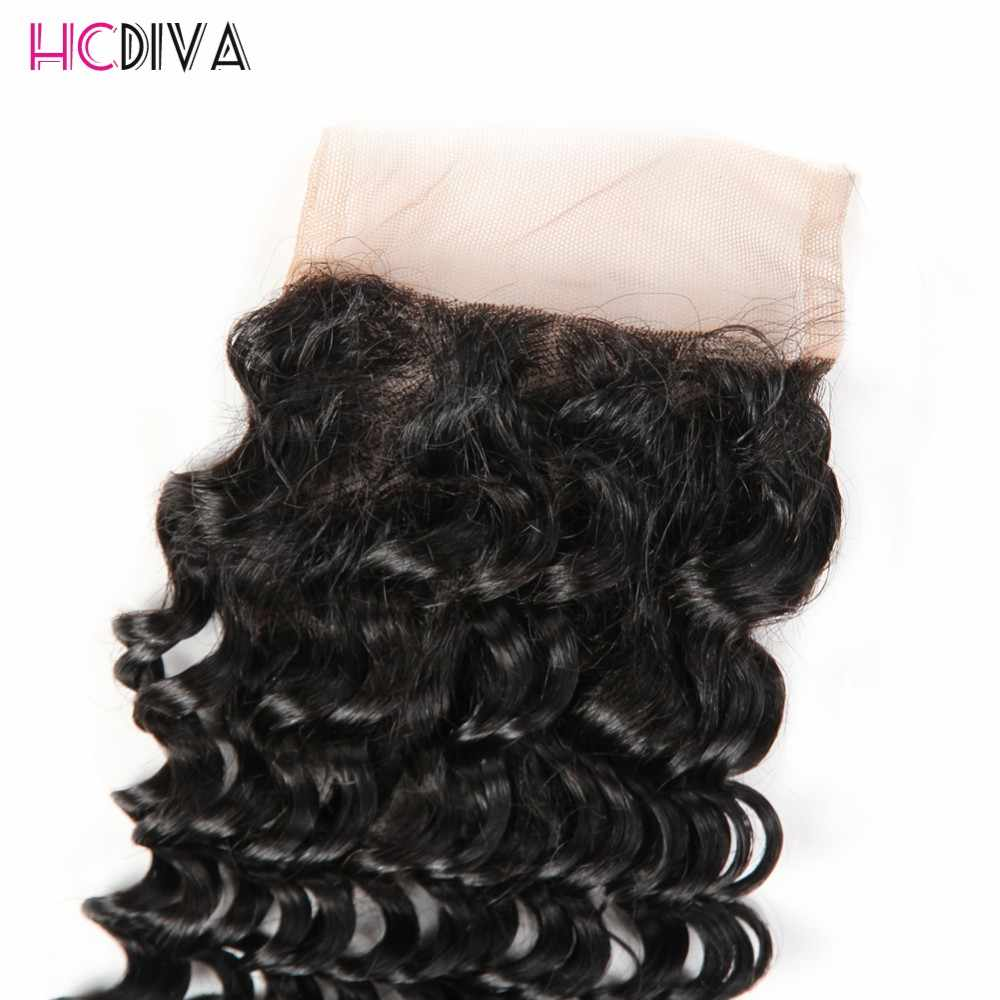 Hcdiva предварительно цветные Человеческие Волосы Связки с Синтетическое закрытие волос глубокий волна перуанской пучки волос плетение не Remy 4 Связки с Синтетическое закрытие волос 5 шт.