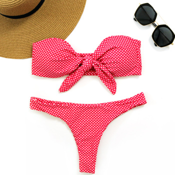 PLAVKY 2018 Sexy White Dot Bandeau Biquini Front Bow Knot Tie Swim Bathing Suit Swimsuit Swimwear Women Brazilian Bikini