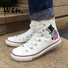 Wen White High Top Shoes Design Zebra with Black Hat Pink-bow Tie Canvas Sneakers Men Women Platform Flat Lace up Plimsolls(China)