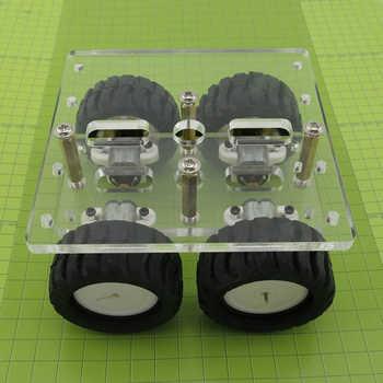 Mini DIY N20 Smart Car Chassis Transparency Acrylic 4WD Two Layer RC Robot DIY Kit N20 Motor Wheels 90*90mm