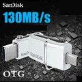 Sandisk ultra dual usb 3.0 otg flash drive sddd2 up a 130 M/S 32 gb Pen Drives de Dupla utilização USB suporte 0 ficial verificação
