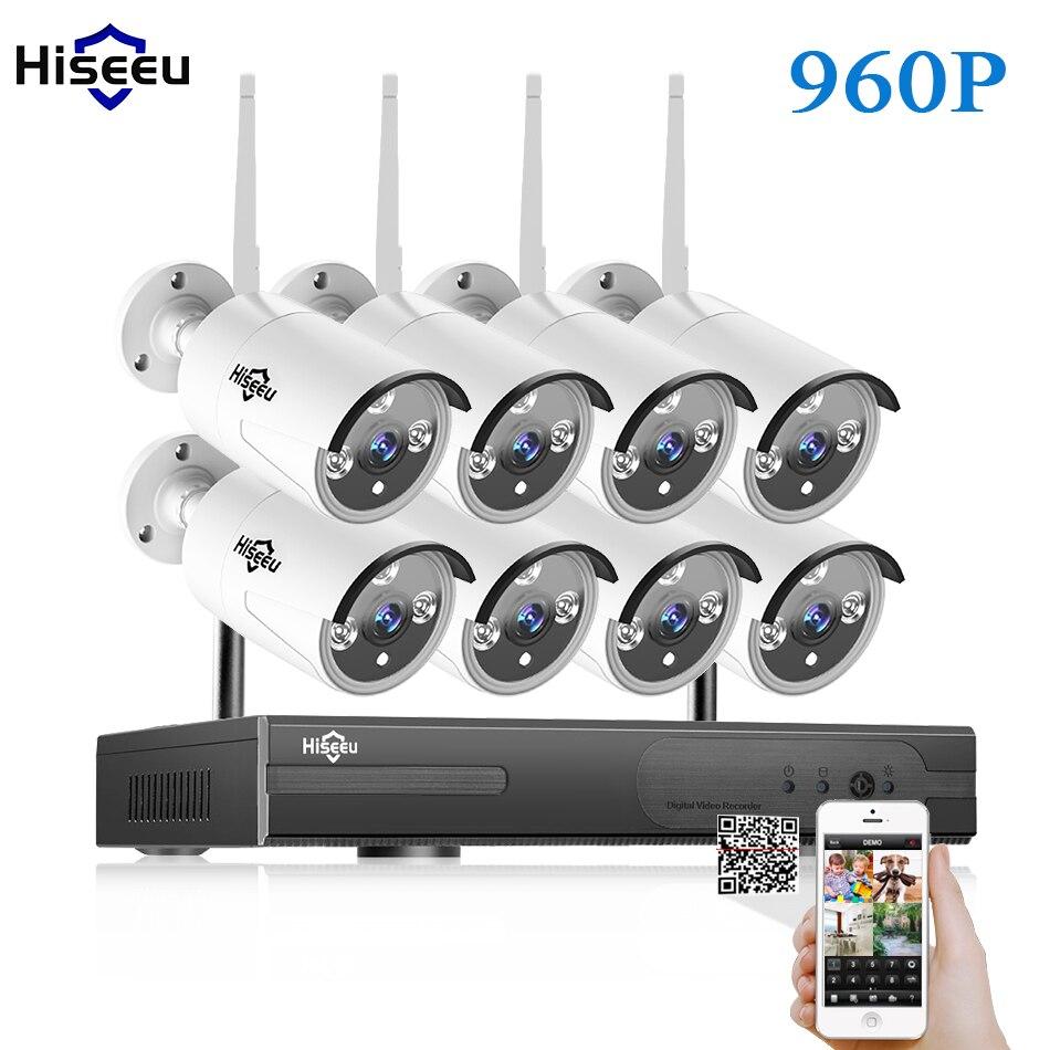 CCTV Системы 960 P 8ch HD Беспроводной NVR комплект Открытый ИК Ночное видение ip Камера Wi-Fi Камера комплект домашней безопасности Системы наблюдени...