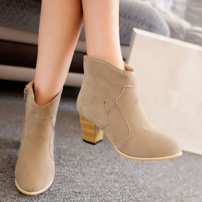 Ladies Mid High Heel Mujer new fashion ankle casual botas decorative zip casual ankle  Zapatos 8df895
