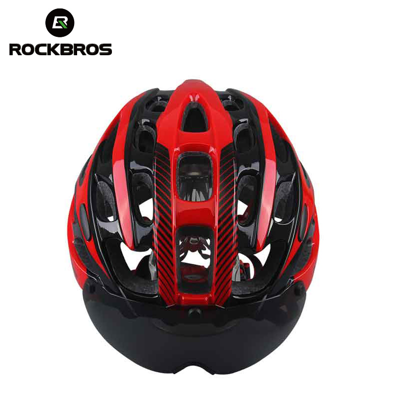 85204a34b6 ROCKBROS bicicleta casco con lentes a prueba de viento hombres integralmente  moldeado 28 Vents Ciclismo Mtb Downhill casco Ciclismo Mountain Bike en  Cascos ...