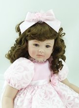 22 inch 55 cm Silicone baby reborn dolls, lifelike doll reborn babies toys Pretty fashion Pink Princess Dress hair girl