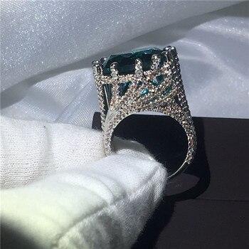 0c113b53a400 Anillo grande 15ct AAAAA zirconia piedra cz compromiso boda anillos para  Mujeres Hombres blanco oro relleno 925 Plata nupcial joyería
