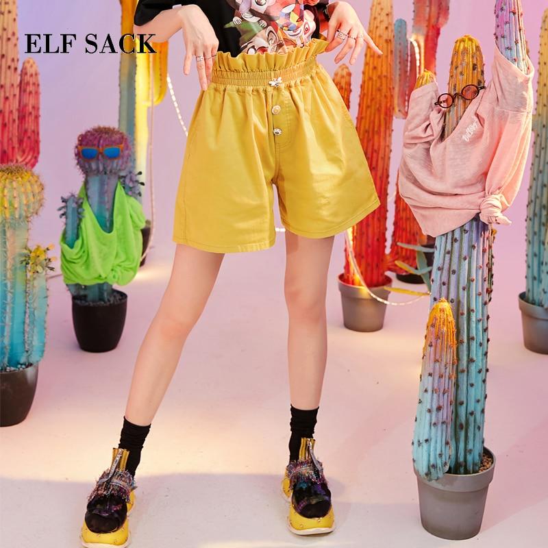 ELF SACK スタイリッシュなコットンレディースショートパンツ夏新ウエスト弾性カジュアルヴィンテージ女性ショーツ女性原宿ハイウエストの服  グループ上の レディース衣服 からの ショートパンツ の中 1