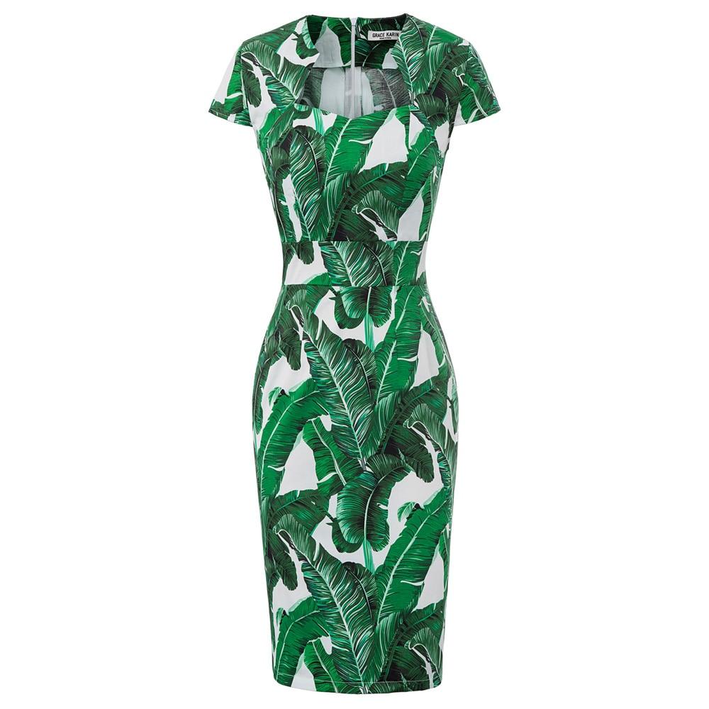 GRACE KARIN Damen Business Kleid Pencil Kleid Rockabilly Etuikleid CL1044