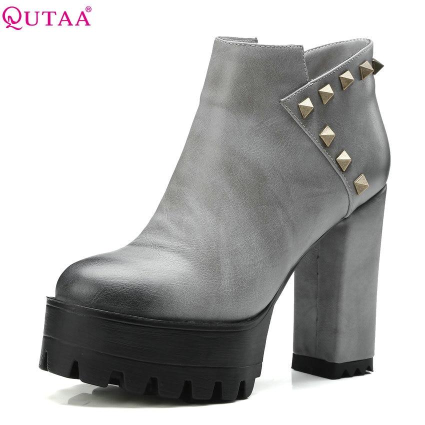QUTAA 2018 Fashion Women Ankle Boots Rivet Design Zipper Square High Heel Round Toe All Match