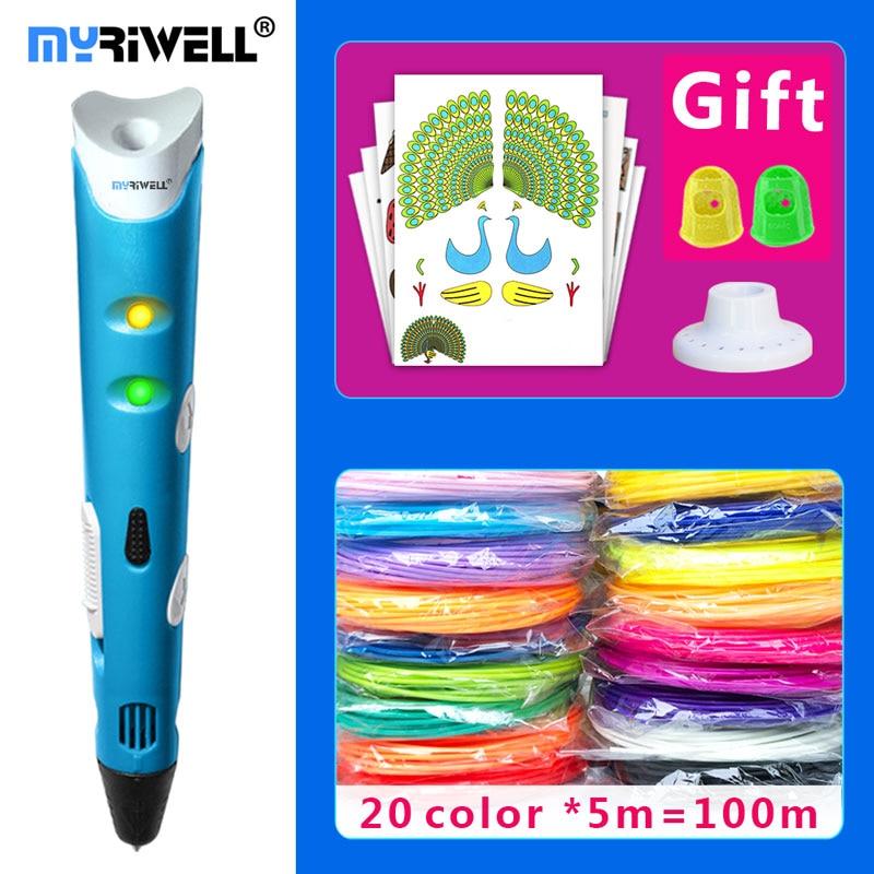 myriwell 3d pen 3d pens,1.75mmABS-PLA Filament,3 d pen 2018 SmartChild birthday present,3d print pen