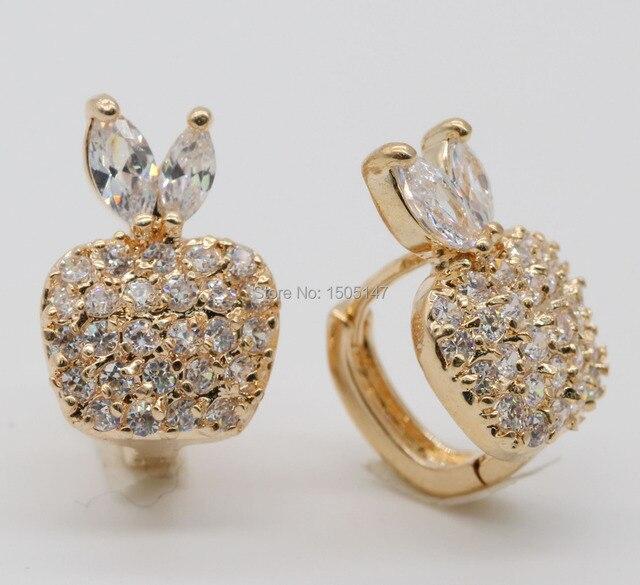 Simple classic earrings Champagne gold filled crystal apple hoop earrings
