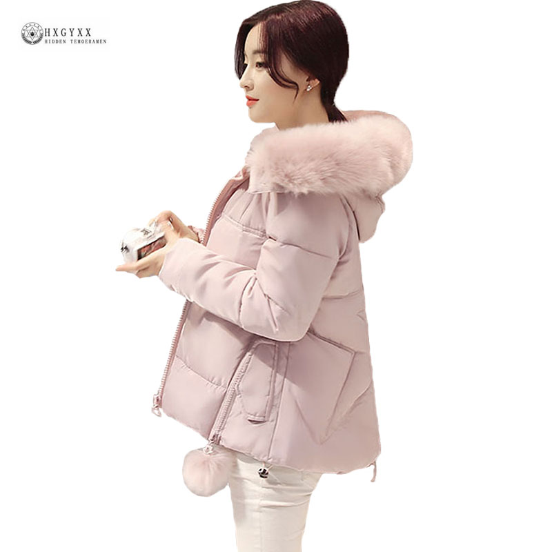 Thick Warm Winter Jacket Women 2017 New Loose Fur Collar Short Outerwear Pure Color Padded Cotton Coat Hooded Female Parka OK995 2013 winter fashion female short doll style real rex rabbit fur collar thick cotton padded jacket loose cape cloak coat d2031