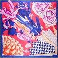 Размер 90*90 см женщин Эмуляции шелковые шарфы 2017 способа Шарма цветок лилии, розы цифровой печати дамы шаль женский мусульманский хиджаб