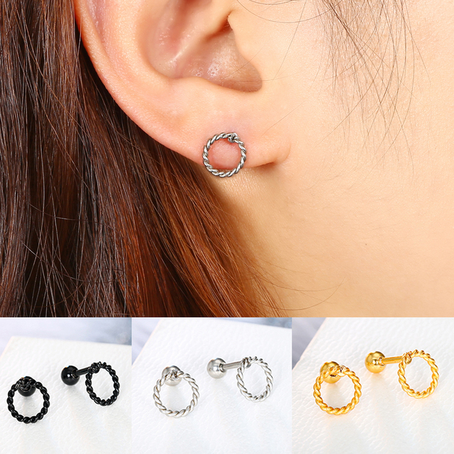 Tiny Gold Circle Stud Post Earrings Dainty