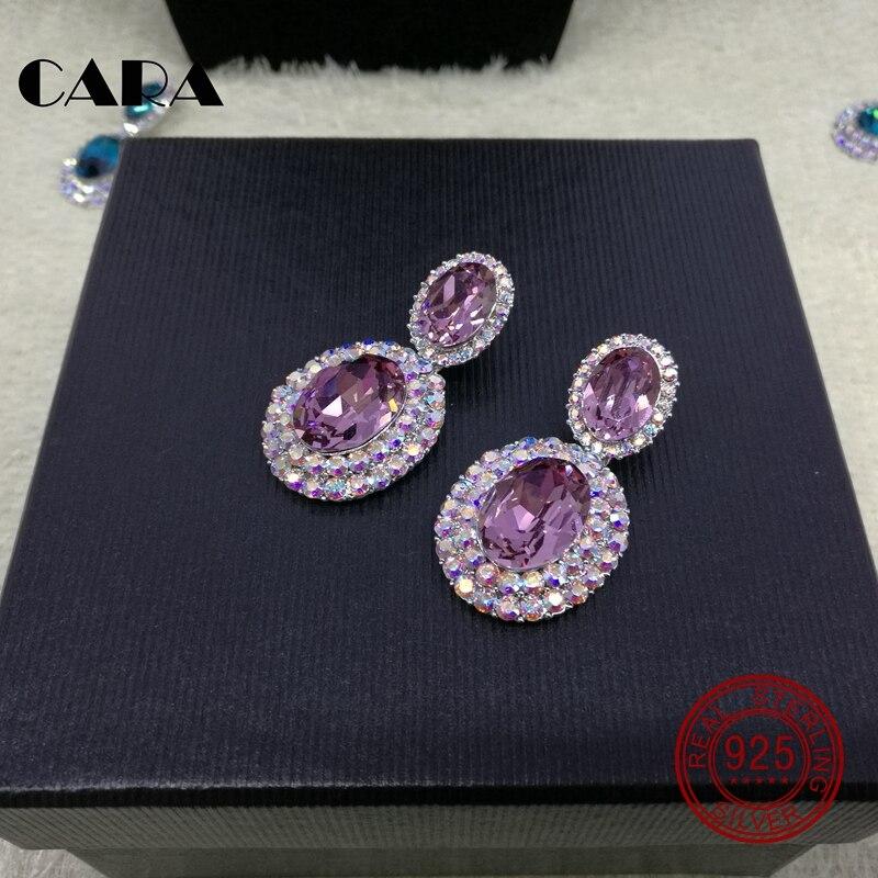 Automne et hiver nouveauté luxe 925 en argent Sterling boucles d'oreilles femmes avec des cristaux d'australie bijoux boucle d'oreille CARA0014