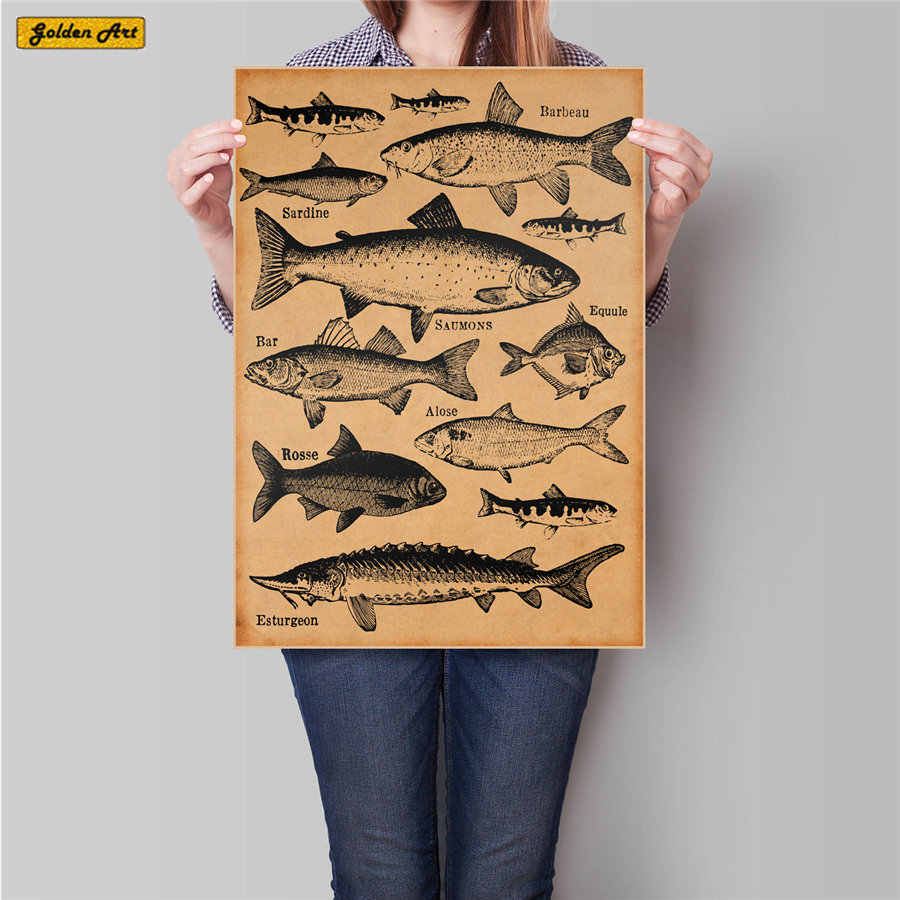 Kind of Fish Chart vintage kraft paper poster retro wall sticker print picture bedroom bar cafe home painting 45.5x31.5cm