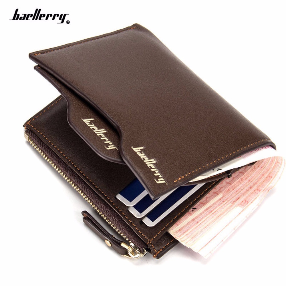 2017 brand baellerry men's leather wallets Bifold Wallet ID Card holder Coin Purse Pockets Clutch with zipper Coin Bag casual men wallets bifold wallet id card holder coin purse pockets clutch with zipper coin bag men wallet with for male gift