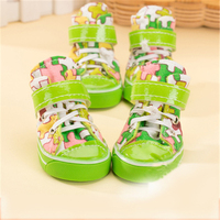 Pet Dog Boots Printed Rubber Spring Summer New Socks Pet Products Waterproof Dog Shoes Outdoor Shoelaces