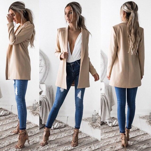 Blazer & Phù Hợp Với 2018 Mùa Xuân Mùa Thu của Phụ Nữ Khoác Thể Thao Áo Mới cho Phụ Nữ Phù Hợp Với Phong Cách Châu Âu Slim Ve Áo Màu Xanh Lá Cây Hot blazer