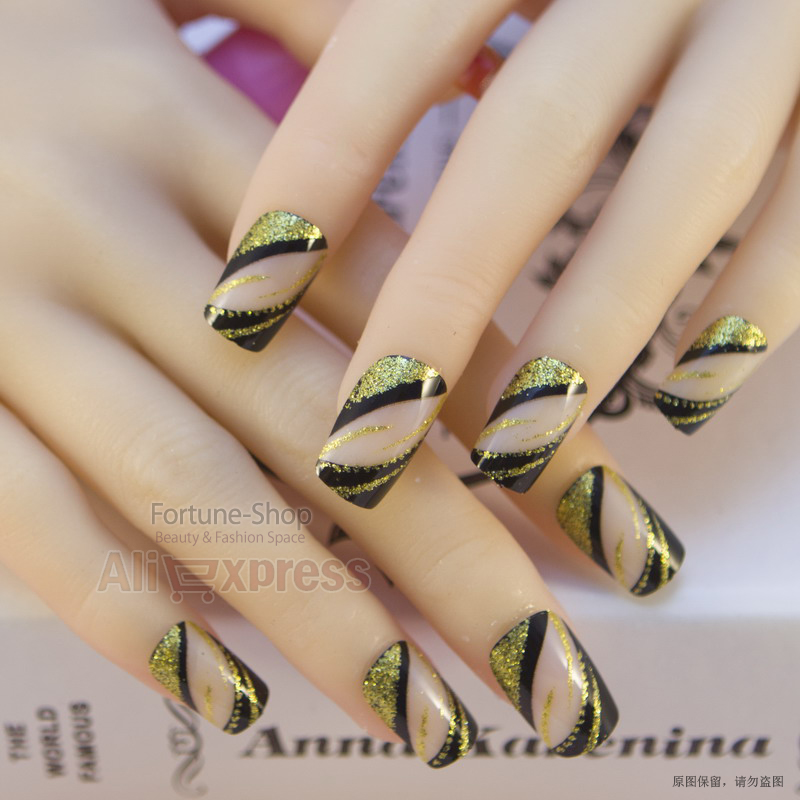 JQ 24 PCS Acrylic Nails Pre Designer Nail Art Tips False French ...