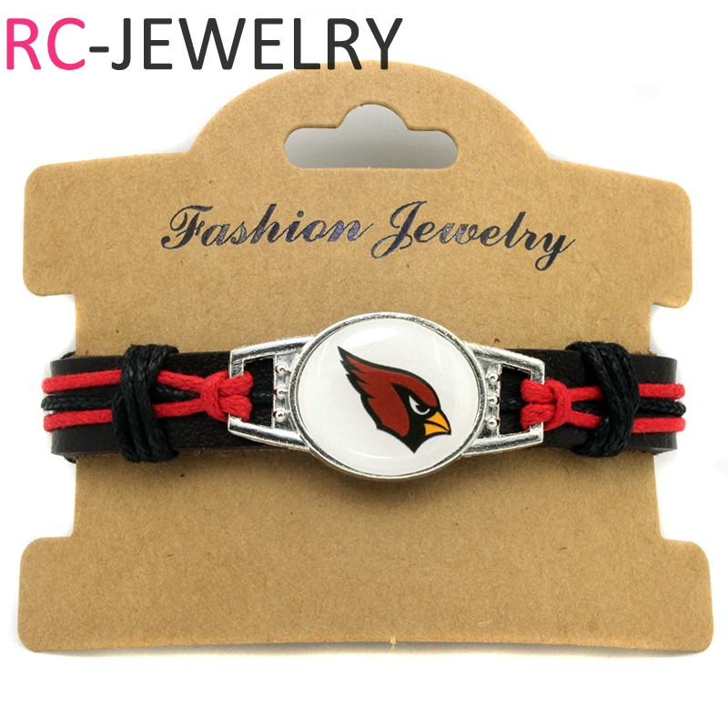 (10 pieces/lot) Adjustable Arizona Leather Cuff Cardinals Bracelet for Men Women Bangle  ...