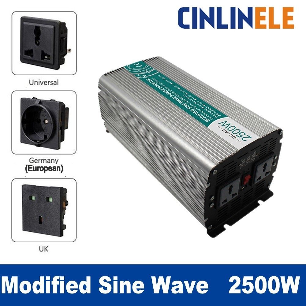 Smart Modified Sine Wave Inverter 2500W CLM2500A DC 12V 24V 48V to AC 110V 220V 2500W Surge Power 5000W Power Inverter 48V 110V 1pcs lot sh b17 50w 220v to 110v 110v to 220v