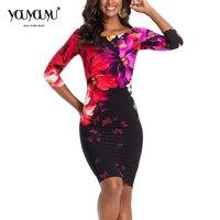 2017 Autumn Fashion Dress Party Dresses Hot Sale High Quality Three Quarter Knee Length O Neck