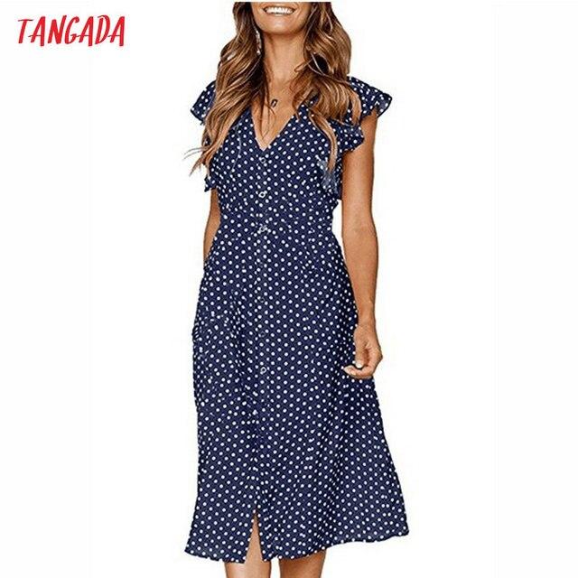 Tangada платье в горошек для женщин Офис-миди платья 80 s 2018 милые винтажные Платье трапециевидной формы красный синий с оборчатыми рукавами vestidos AON08