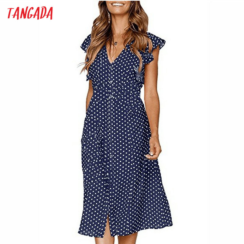 Tangada Polka Dot Dress For Women Office Midi Dress 80s 2019 Vintage Cute A-line Dress Red Blue Ruffle Sleeve Vestidos AON08