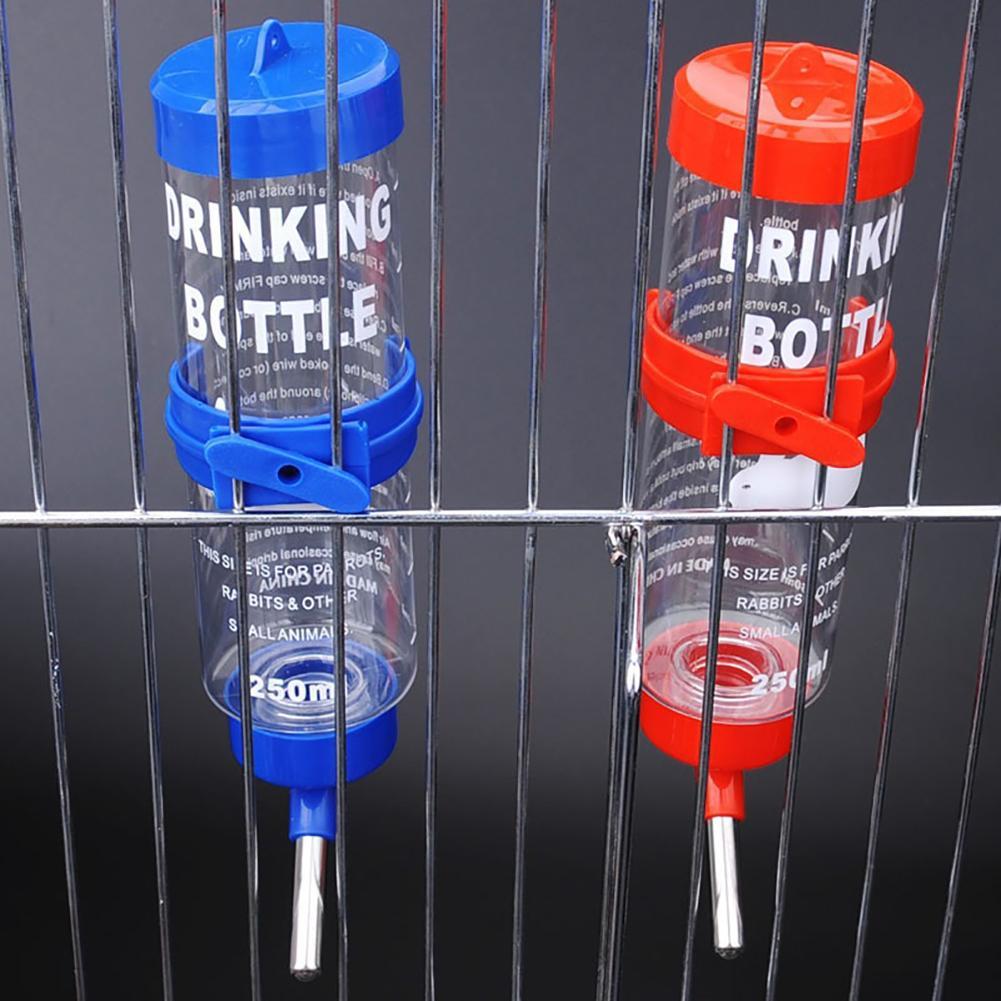 Portable Pet Water Bottle 250ML Pet Drink Stainless Steel Automatic Water Fountain Bottle Rabbit Hamster