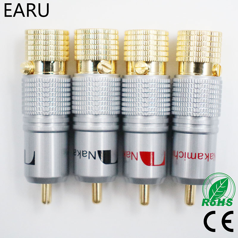 4pcs NAKAMICHI 10mm Gold Plated RCA Plug Locking Non Solder Plug RCA Coaxial Connector Socket Adapter Factory High Quality