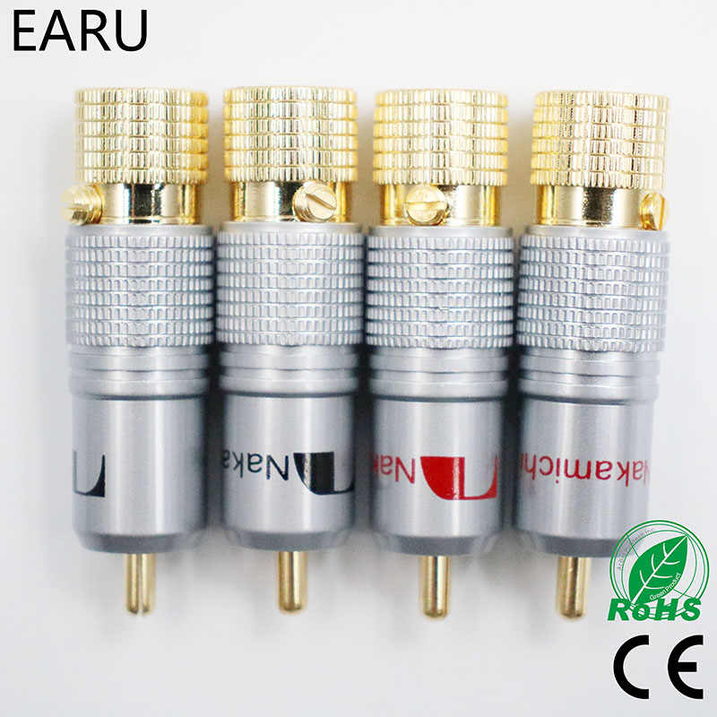 4 stks NAKAMICHI 10mm Vergulde RCA Plug Locking Non Soldeer RCA Coaxiale Connector Socket Adapter fabriek Hoge kwaliteit