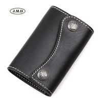 J.M.D Genuine Leather Fashion Style Key Bag Unisex 6 Key Hook-ups Portable Key Bag Key Holder Wallet Card Hold Keys Case 8130