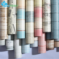 PVC Self Adhesive Wallpaper Roll Refurbished Furniture Stickers Walls Decorative Waterproof Wood Wall Stickers For Bedroom