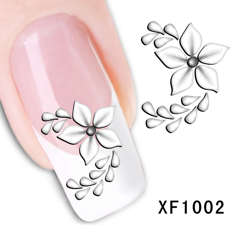 купить  white flower design Water Transfer Nails Art Sticker decals lady women manicure tools Nail Wraps Decals wholesale XF1002  онлайн