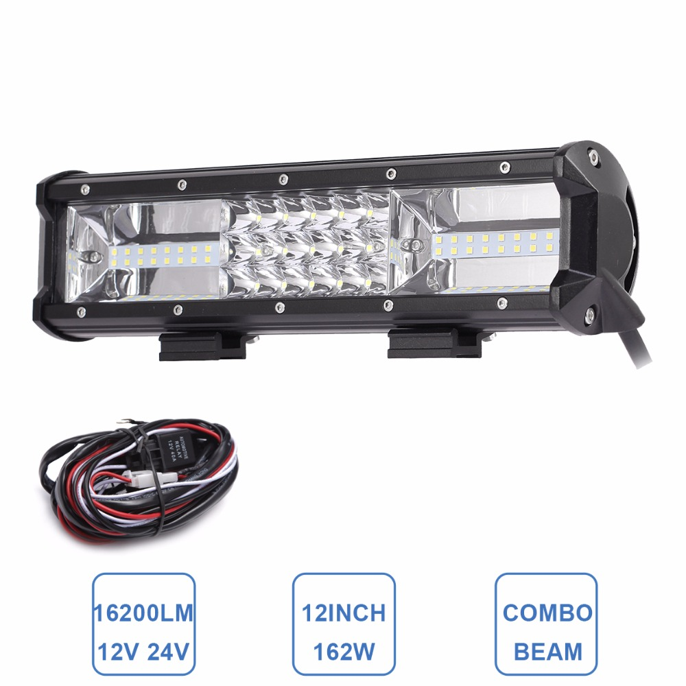 12 Inch 162W LED Light Bar Offroad Car Truck 4x4 SUV ATV 4WD Trailer Wagon Van Camper 12V 24V Combo Off Road Driving Work Lamp