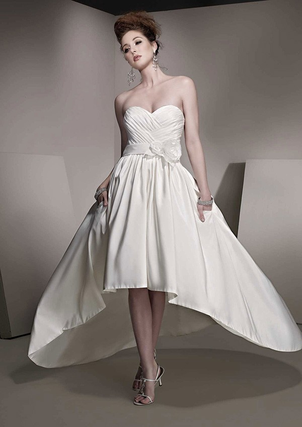 Knee length long back wedding dress