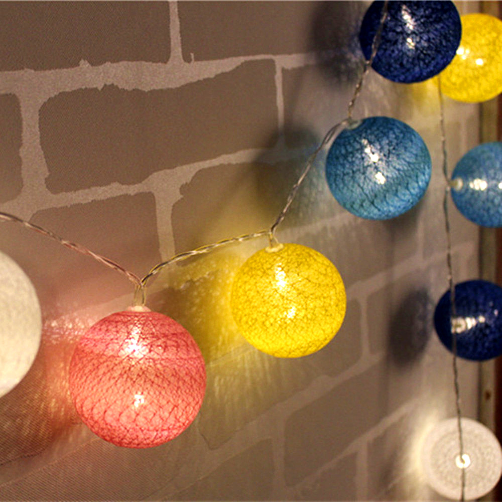Ocean Theme Blue Color Series Cotton Ball string lights Battery Operated Fairy lights Lamp Lighting for TV Background/Balcony