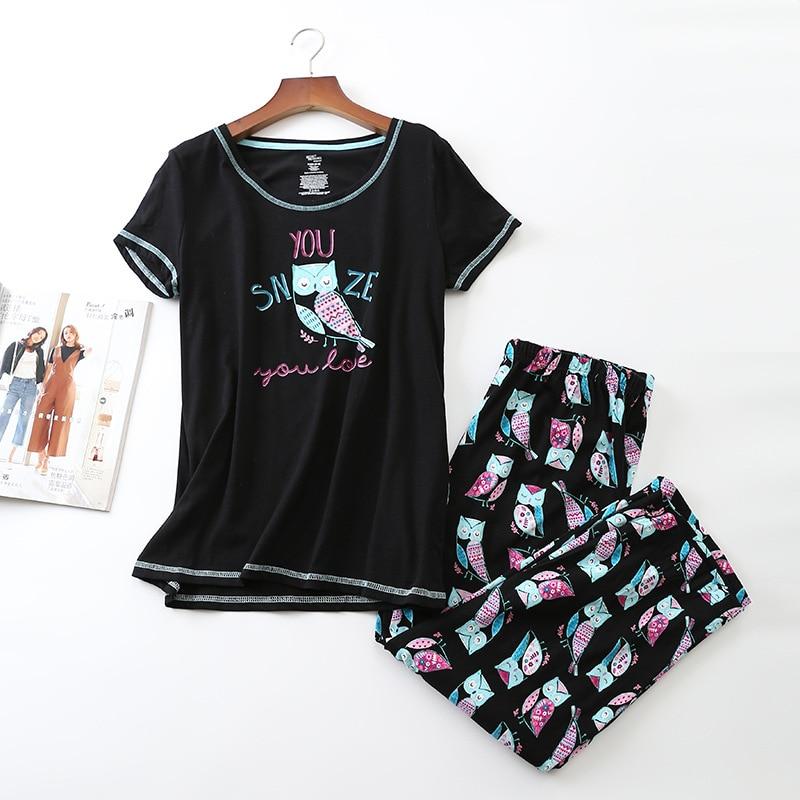 New 2018 Women   Pajamas   Cotton Cute Owl Print Black   Pajama     Set   Top + Capris Elastic Waist Plus Size 3XL Lounge pijamas S87292