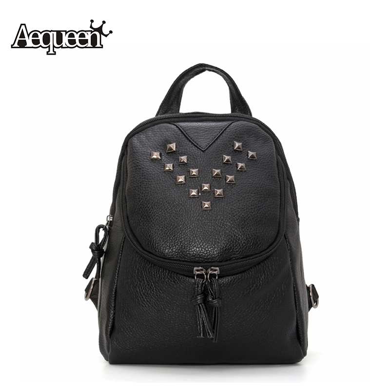 AEQUEEN Leather Backpack Women Fashion Rivet Backpacks School Bags For Teenagers Girls Travel Pack 2017 Rucksack