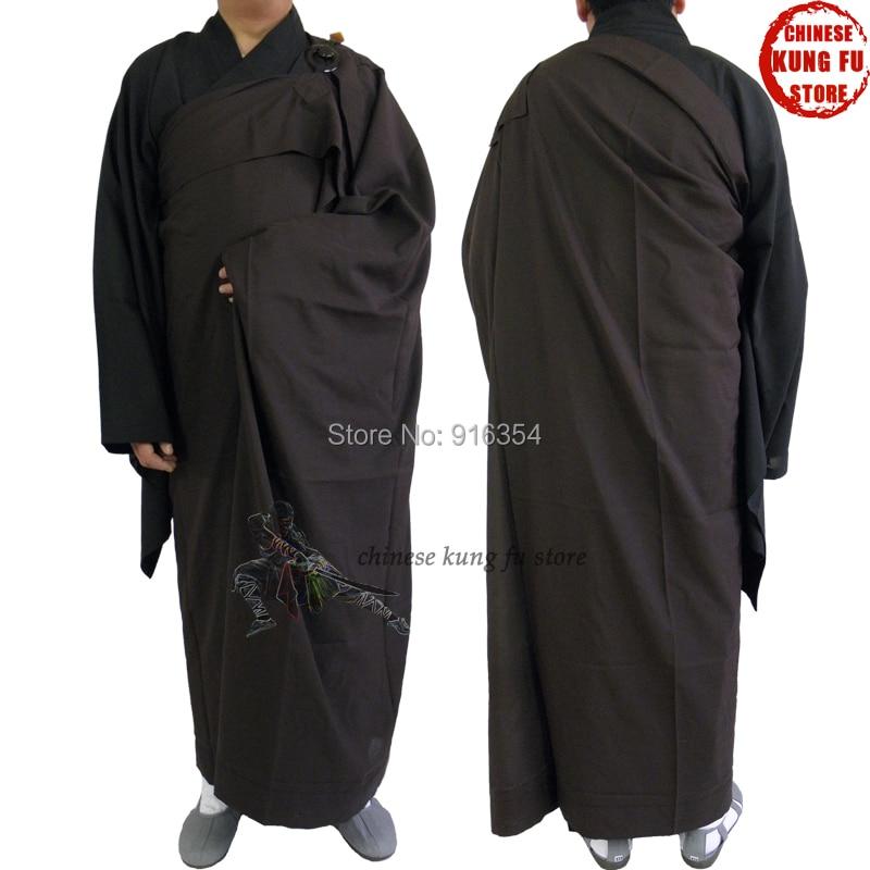 Shaolin Temple Monk Dress Zen Buddhist ManYi Kesa Robe with Inside Haiqing Robe Lay Meditation Suit Uniform black color zen buddhist manyi kesa robe shaolin monk long gown meditation clothes