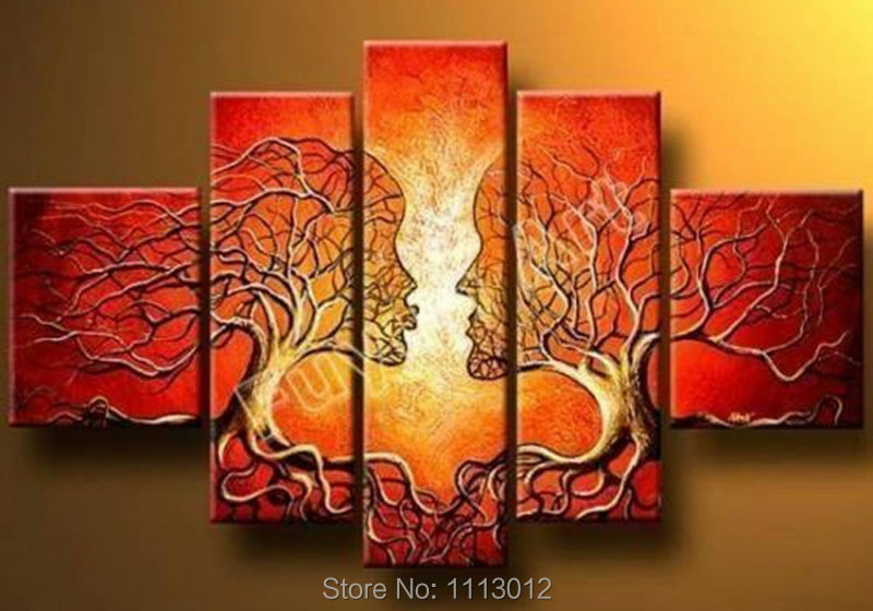 Hot Sale Tree Oil Painting On Canvas 5 pcs High Quality Modern Wall Picture For Living Room Abstract Home Decoration Landscape