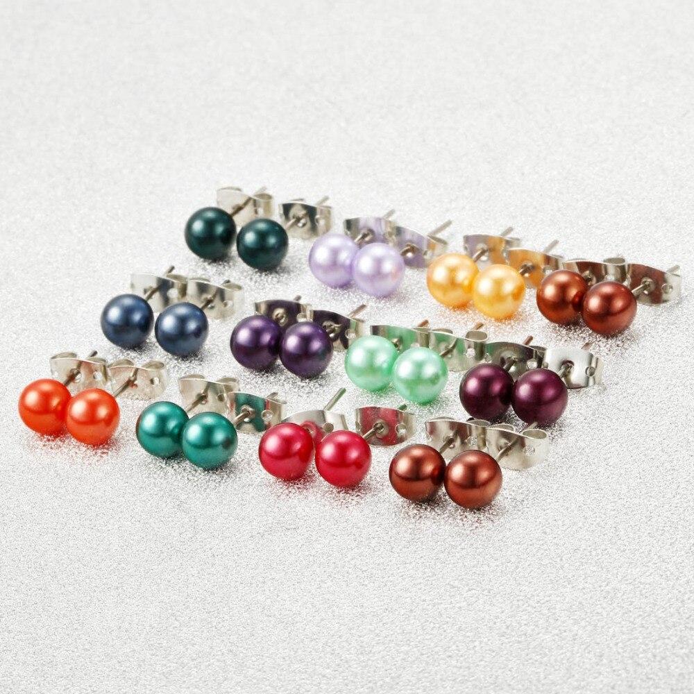 Женские круглые серьги-гвоздики ZOSHI, цветные серьги с искусственным жемчугом, 36 пар