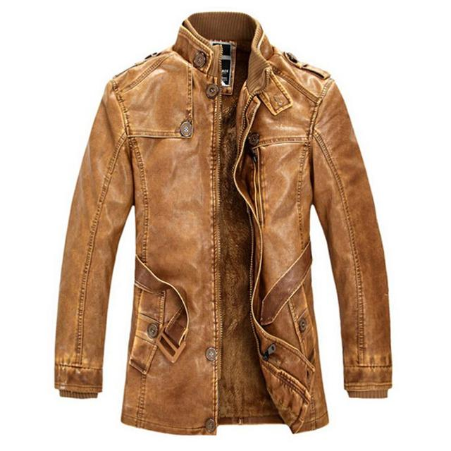 c24f76e7 Brand Leather Jacket Men Winter Bomber Motorcycle Washed Leather Jackets  And Coats Mens Stand Collar Plus