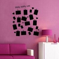JJRUI 19 PCs Picture Photo Frame Set Wall Sticker Vinyl Decal Decor Home Room Office Art