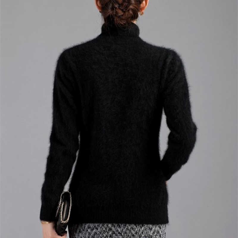 Зимний женский свитер, Одноцветный, 100% Норка, кашемир, водолазка, вязаный пуловер, тонкий, мягкий, теплый, женский свитер с длинным рукавом