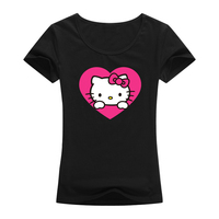 Hot Sale Kawaii Designed Love Hello Kitty Pattern Cute T Shirt Women Funny Short Sleeves Women
