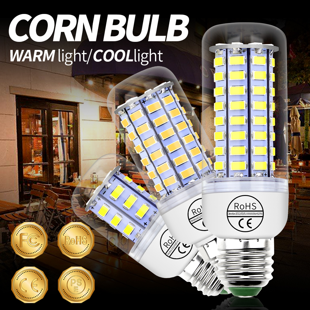 GU10 Bulb Led Corn Lamp E14 220V Light Bulb Led E27 Chandelier Led Candle Light 3W 5W 7W 9W 12W 15W B22 Home Ampoule SMD 5730